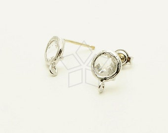 SI-544-OR / 2 Pcs - Tiny Bezel Round Cut Stud Earrings (Crystal), Silver Plated, with .925 Sterling Silver Post / 7.6mm