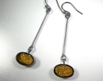 Golden Druzy Earrings in Sterling Silver - Gemstone Earrings - Statement Jewelry - Statement Earrings - Designer Earrings