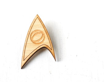 Geeky Laser Cut Brooch, Star Trek Science Division Insignia as worn by the original Spock