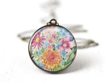 Pastel Spring Flowers Art Pendant Necklace - Pink, Orange, Blue and Purple Flowers, Bridesmaid Jewelry For Spring Weddings