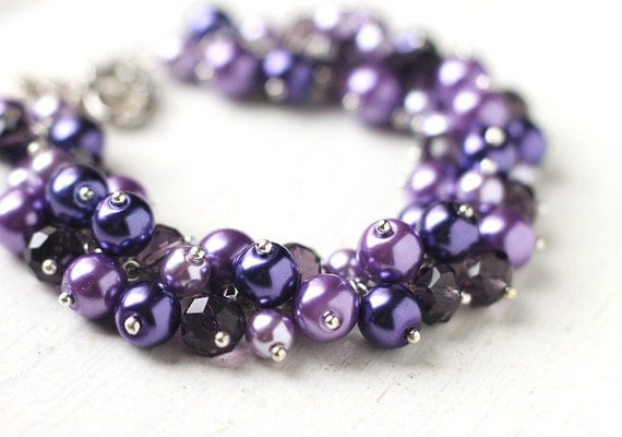 dark purple wedding bridesmaid jewelry pearl cluster bracelet