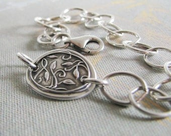 Everlasting Bracelet No. 2, Personalized Fine and Sterling Silver, Handmade Link with Chain Bracelet by SilverWishes