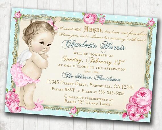 baby shower invitation angel shabby chic roses angel, Baby shower invitations