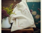 Floral Cotton Tote Bag, Market Shopper Made From a Vintage Hanke, Shabby Chic Pink and Blue Ruesable Bag