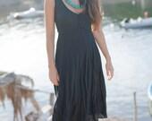 Midi Length Black Crinkled Linen Dress