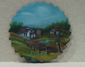 Hand painted saw blade, Country Landscape Painting, Barn Painting, Country Lane Painting,Farm Painting, country decor painting, country