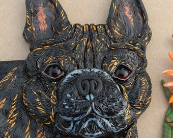 French Bulldog Sculpted Clay ORIGINAL Wall Hanging one of a kind, BEAUTIFUL