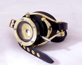 Steampunk Goggle IRIS APERTURE Monocle Victorian Theatrical Goth Industrial Brass LARP All Black