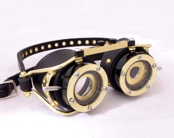 Steampunk Goggles Dual IRIS APERTURE Victorian Theatrical Goth Industrial Brass LARP All Black