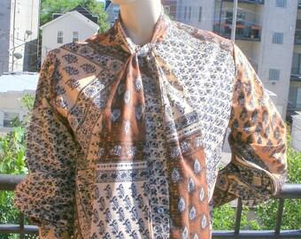 60s Vintage Sybil brown gold lurex patchwork Hippie secretary pussy bow blouse top XL