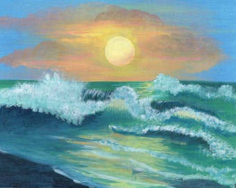 Over the Sea -  Acrylic Seascape Painting
