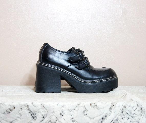 90s black chunky platform shoes 6 5 monk by whitewavevintage