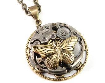 Steampunk Necklace, Clockwork Butterfly Watch Movement Brass Ruby Jewel Brass Lace Necklace, Steampunk Jewelry by compassrosedesign