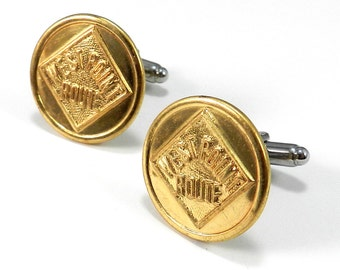 Steampunk Cufflinks, ATLANTA and WEST POINT Railroad, Vintage Cuff Links, Mens Steampunk Jewelry by Compass Rose Design