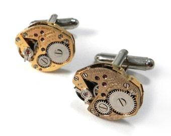 Gold STEAMPUNK Cufflinks - Soldered Gilded DISTRESSED GOLD Cuff Links - Mechanical Watch Movement - Steampunk Cufflinks - Vintage Wedding