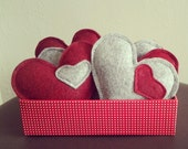 3 Gray or Red Catnip Wool Blend Felt Kitty Hearts cat toys