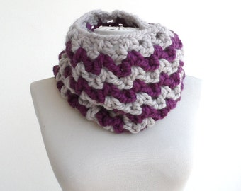 Purple cowl scarf crochet scarf womens tube scarf winter scarves for woman neckwarmer hood thermal chevron scarf christmas gift for her