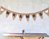 MR & MRS Hessian Burlap Wedding Celebration Party Banner Bunting Decoration Photo prop rustic wedding reception bridal shower hens party