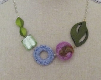 Fun and Fabulous....Pastel Necklace with Felted Ball Bead and Crocheted Circle..Ohhh so Sweet