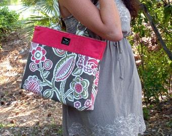 Tropical Flowers Zebra Fabric Faux Suede 2 in 1 Convertible Diaper Hobo Purse Shopper Weekeender Tote Bag Handbag