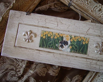 Kitty in the daffodils, repurposed wall hanging, wood, antiqued white, black and white cat