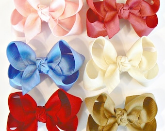 Toddler Girls Hair Bow Set Small Girls Childrens Kids Boutique  Fashion Hair Clip Hairbows Hair Accessories (Set of 6) Choose Colors