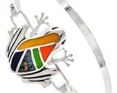 Inlay Frog Cuff Bracelet - Frog Bangle Bracelet - Southwest Style Frog Bracelet with Inlay