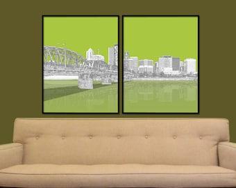 Portland is Green Split City Print