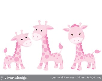 Pink Giraffe Digital Clip Art