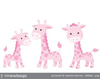 Pink Giraffe Digital Clip Art