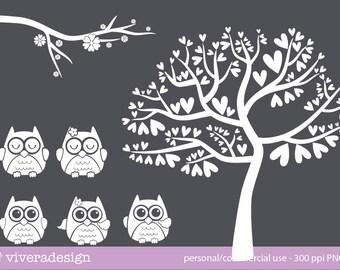 Love Owl in Solid White Digital Clip Art