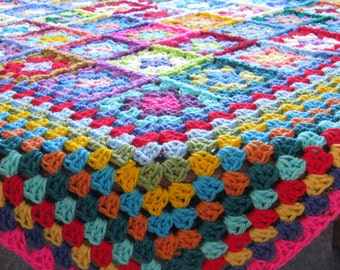 Granny Squares Crochet Blanket Afghan Big Border