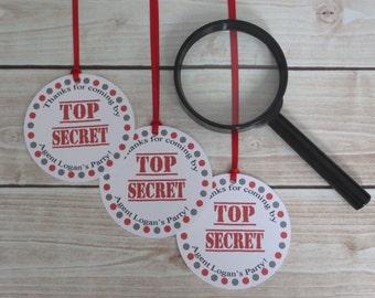 Spy Party Custom Favor Tags - Secret Agent Collection