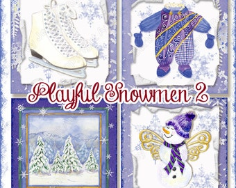 INSTANT DOWNLOAD Digital collage sheet Christmas Winter Snow Play AJR-273K 4 inch square gift tag skating skates cocoa snowman snowflake