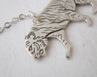 Tiger Necklace -  Antiqued Silver Panthera Tigris Cat Pendant Necklace Silver Chain