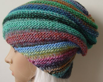 Knitted multicolor beanie, snail hat, slouchy hat