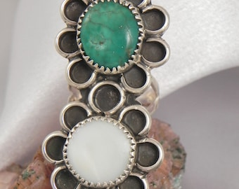 Huge Turquoise Mother of Pearl Sterling Ring