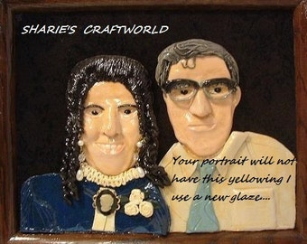 Photograph, Picture, Snap shot, Digital, Print,  Mom,  Mother, Dad, Father, Clay Portrait, Handmade, Polymer Clay, Photo Keepsake,