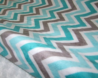 Topaz and Charocal Chevron MINKY Changing Pad Cover- Ready to Ship