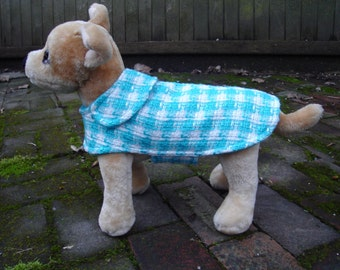 Turquoise and White Houndstooth Coat- Size XX Small- 8 to 10  Inch Back Length - Or Custom Size