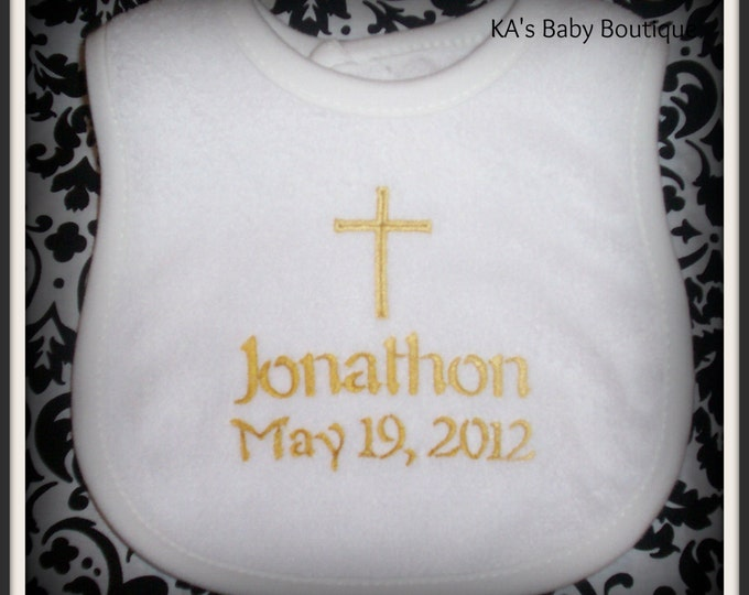 Baptism - Cross baby bib personalized - Christening baby gift - Keepsake baby bib - Sunday bib - Embroider baby gift - Child of God