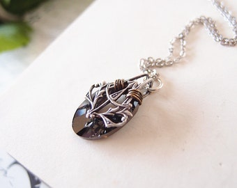 Nymphs No.3 --- Swarovski black diamond Crystal Helios Pendant ,aged sterling silver brass victorian necklace