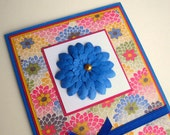 Floral Washi Blue Pink Multicolored Greeting Card Blank Inside