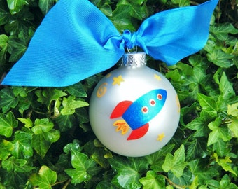 Spaceship Ornament, Rocket Ornament - Space Rocket, Hand Painted Christmas Ornament - Rocket ship Birthday, Personalized Birthday Gift