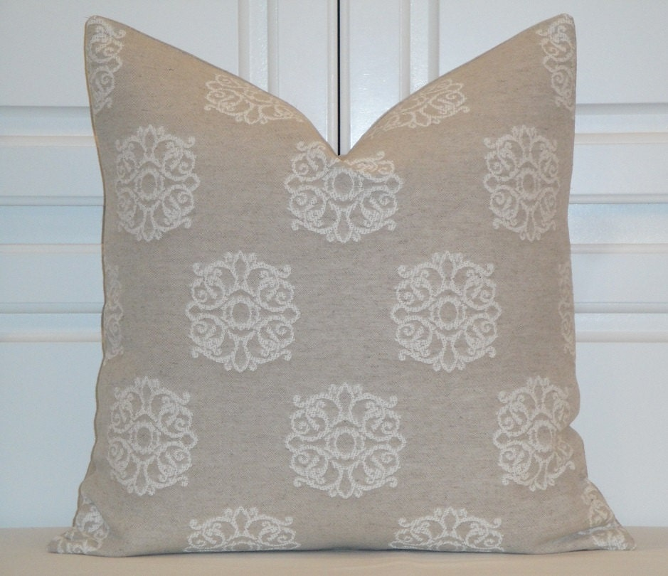 Natural Decorative Pillow : Decorative Pillow Cover Ivory Natural Linen Medallion