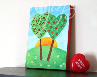 Romantic painting, LOVE GROWS EVERDAY #2, 5x7 canvas, whimsical art for your valentine