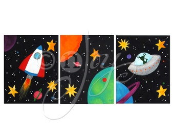 Set of 3 Black Space Themed PRINTS, 8x10 inch Solar System Art for Kids, Children's Decor