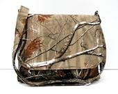 Camo Purse, Cotton Crossbody Bag, Shoulder Bag, Real Tree Messenger Bag, Brown Tree Purse, Fabric Cross Body Bag, Long Adjustable Strap
