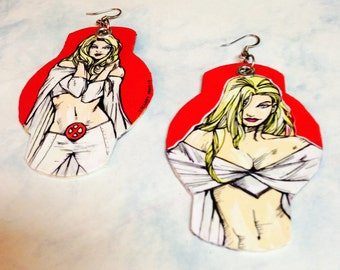 an Intense Mind - Emma Frost, the White Queen hand-painted comic book inspired earrings