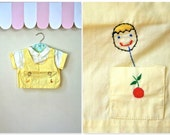 vintage 50s boy's shirt - JUICE BOXES pastel yellow embroidery shirt / 18-24M
